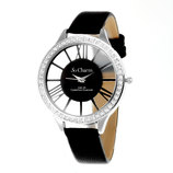 Vente Articles : Montre femme bracelet cuir noir So Charm made with 48 crystal from Swarovski® Elements  - So'Charm